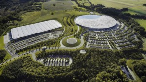 Aerial view of the McLaren Production Centre (left) and McLaren Technology Centre
